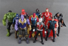 цены 10Pcs/Set Avengers 3 Figure Super Heroes Thanos Hulk Captain America Thor Iron Man PVC Action Figure Toys