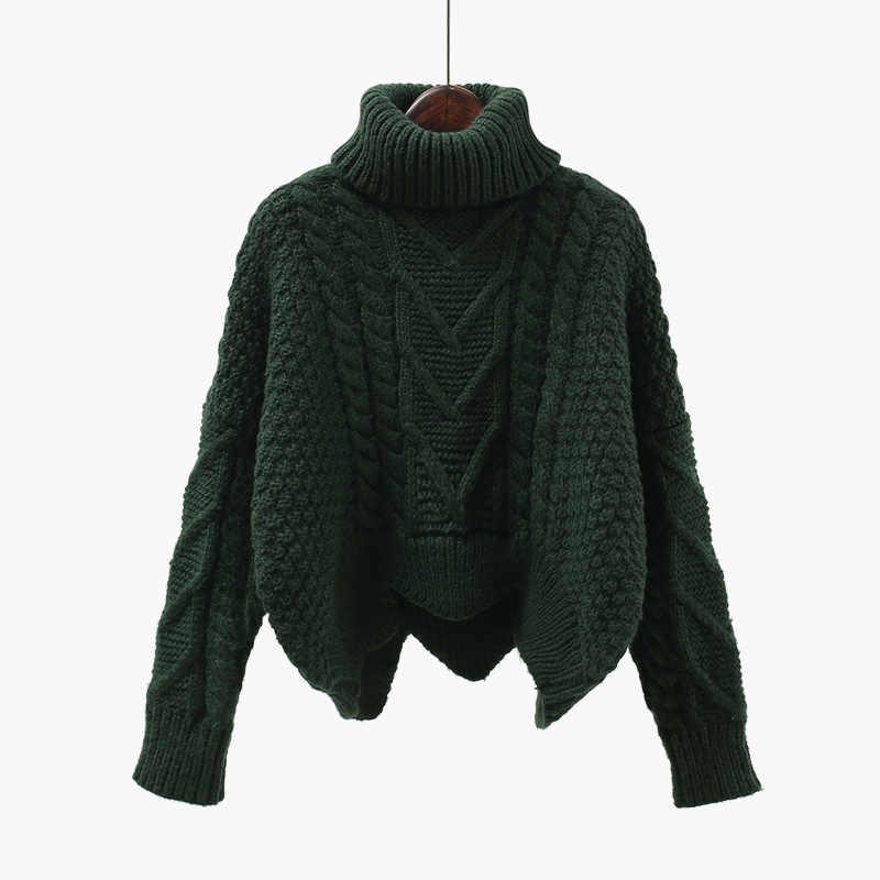 두꺼운 스웨터 여성 가을 겨울 탑 한국 스타일 느슨한 트위스트 니트 짧은 디자인 풀 오버 터틀넥 블랙 브라운 여성