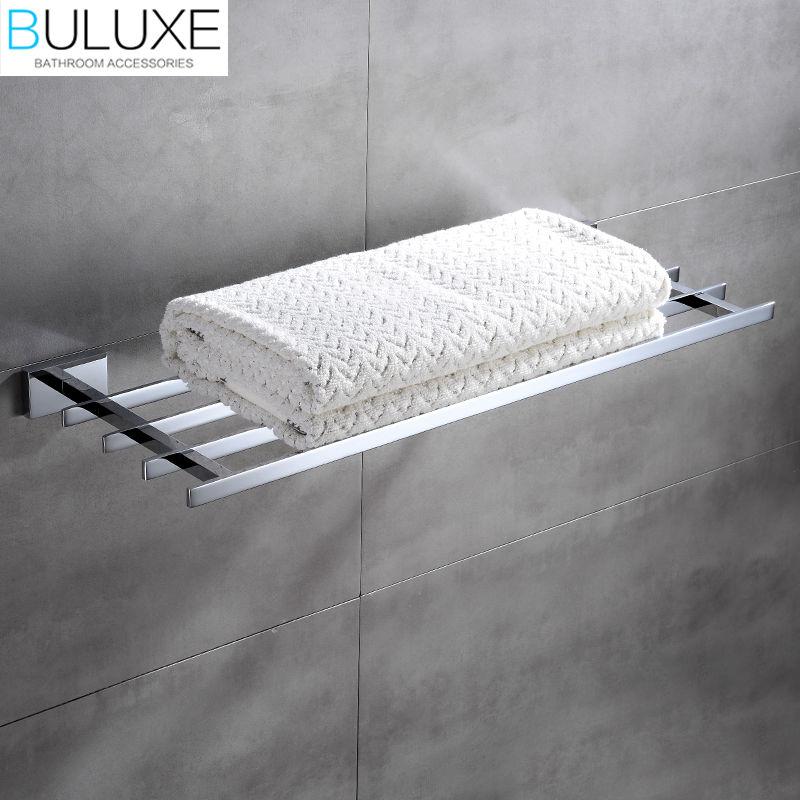BULUXE Brass Bathroom Accessories Towel Bar Rack Holder Chrome Finished Wall Mounted Bath Acessorios de banheiro HP7760