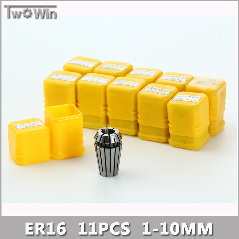 ER16 Collet Set 11pcs er16 Collet Chuck From 1mm to 10mm Beating 0.1MM Precision For CNC Milling Lathe Tool and Spindle Motor.  цены
