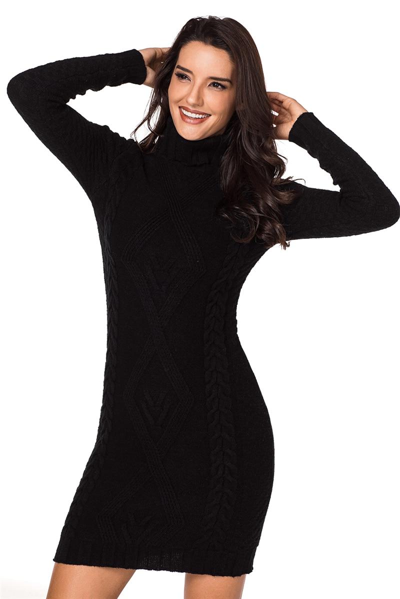 Black-Stylish-Pattern-Knit-Turtleneck-Sweater-Dress-LC27867-2-3