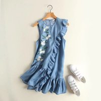 clothing wholesale fashion flower embroidery agaric splicing irregular round collar sleeveless tencel denim dress is 85