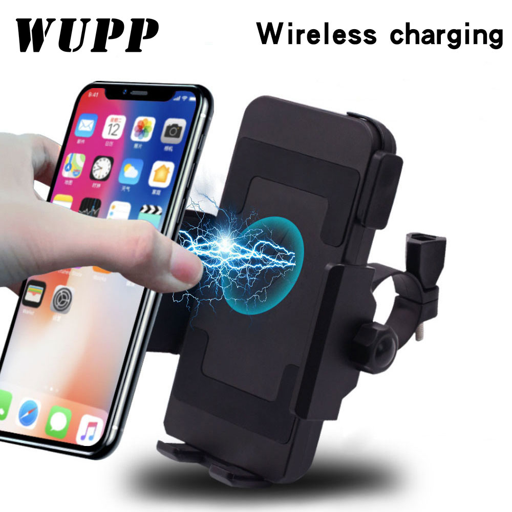 WUPP 2019 Motorcycle Phone Holder Qi Wireless Charger Motorcycle Charger Mount For Phones Fast Wireless Charge Moto Accessories