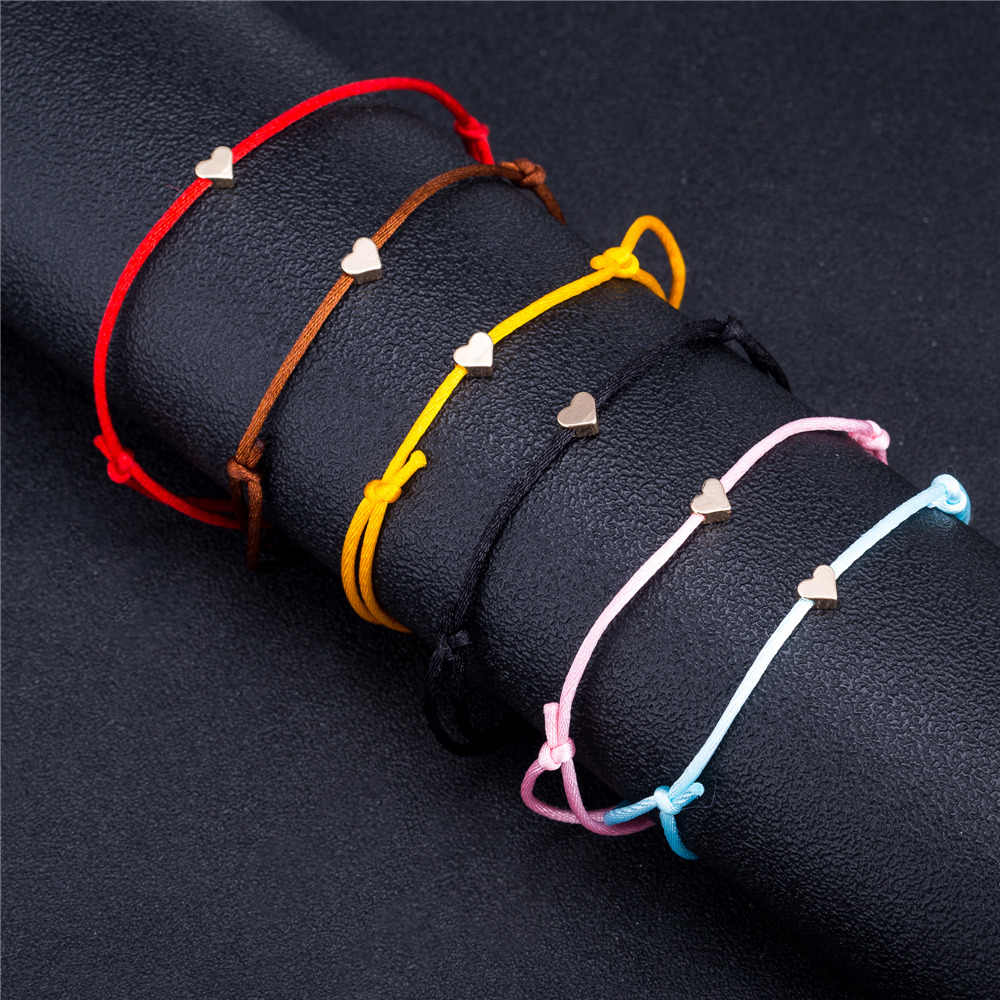 Romantic 1 Piece Adjustable Gold Color Heart Simple Thread String Bracelet For Women Men Handmade Red Thread Rope Jewelry