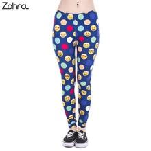 Zohra Brand New Fashion Women Leggings Emoji Colors Dots Printing leggins Fitness legging Sexy High waist Woman pants