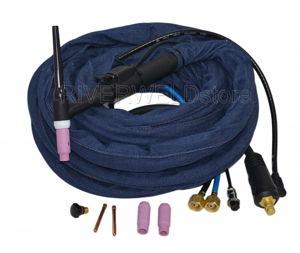 WP 18K 25 25 Foot TIG Welding Torch Complete Water Cooled 350Amp 7 6 Meter Gas