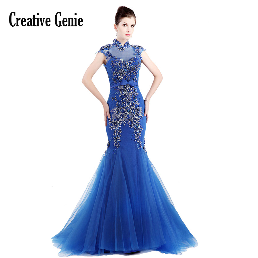 Long Party Dress Formal Occasion Dresses For Lady Elegant Stand Collar Embroidery Women Dresses Evening Party Royal Blue CG1839