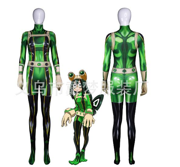 3D Printed Boku no Hero Academia Froppy Cosplay Costumes Pro Hero Tsuyu Asui My Hero Academia Zentai Suit, Only Bodysuit