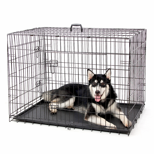 PAWZRoad Domestic Delivery Pet Dog Cage Crate Double-Door Pet Kennel Collapsible Easy Install Fit Your Pets 5 Sizes Pet House 2