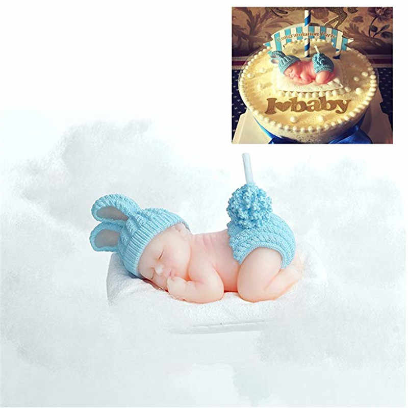 Childrens Birthday Candles Handmade candle wax Sleep Baby Flameless candle Birthday Cake decor Candle For Wedding Birthday gift
