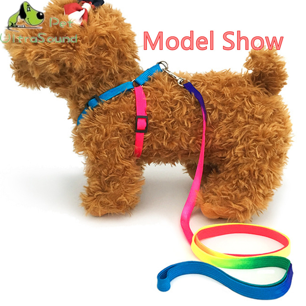 ULTRASOUND PET Dog Colorful Nylon Harness With Lead Leash Control Restraint Cat Puppy Dog Harness Soft Walk Vest For Small Dogs in Sets from Home Garden