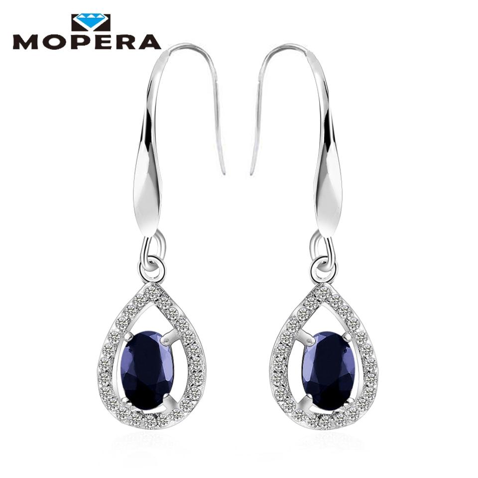 Mopera 1.44ct Natural Sapphire Earrings Fine Brinco Dangle Water Drop Earrings For Women Fashionable 925 Sterling Silver Jewelry
