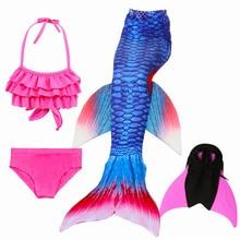 Ariel Mermaid Tail for Swimming Children Swimming Mermaid Tails With Monofin Fin Girls Kids Mermaid Cosplay Costume