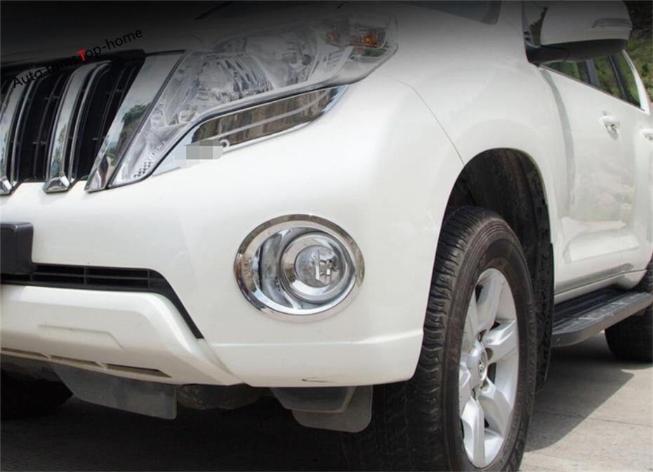 Yimaautotrims Chrome Front & Rear Fog Lights Lamp Foglights Cover Trim For Toyota Land Cruiser Prado Fj150 2014 2015 2016 2017