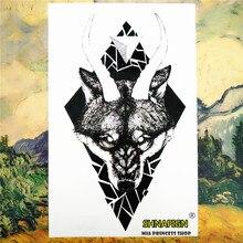 Black Thorn Wolf Temporary Tattoo Body Art Flash Tattoo Car Styling Sticker 12*20cm Waterproof Henna Fake Tao Glass Wall Sticker