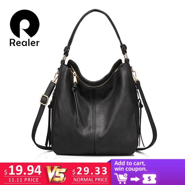 REALER бренд модная большая сумка женская через плечо, дамская сумка хобо из искусственной кожи для женщин,дизайнер сумочка на плечо высокого качества,