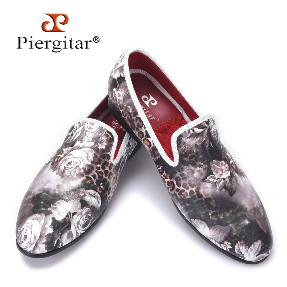 Piergitar 2017 new style Leopard and Flower printing men's loafers comfortable red cotton insole Men fashion casual shoes