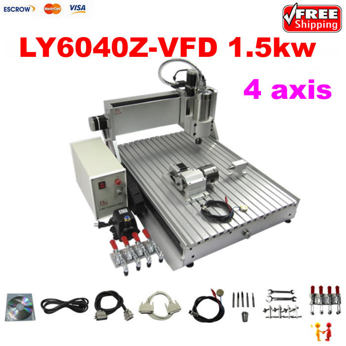 4 axis 6040 3D cnc router engraver drilling and milling machine with 1.5KW for aluminum metal wood stone 4 axis cnc machine cnc 3040f drilling and milling engraver machine wood router with square line rail and wireless handwheel