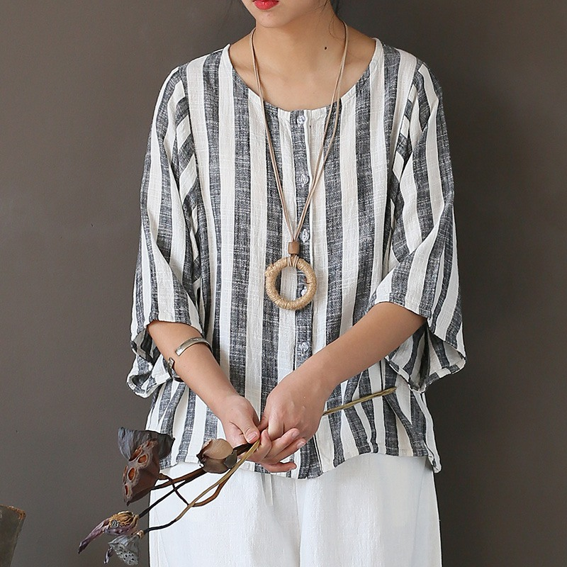 Cotton Linen Striped Ladies Shirt Summer time Unfastened Informal Stripe Shirt Shirt Classic Authentic Design Ladies Cute Tops Blusas A253