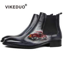VIKEDUO Autumn New Boots Men Square Toe Car Painting Chelsea Ankle Boot Male Genuine Leather Patina Bespoke Botas Hombre Classic