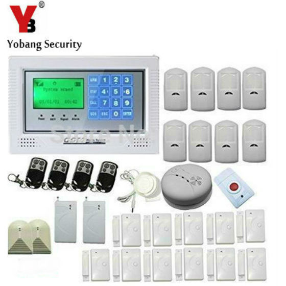 YobangSecurity Russian/Spanish/French Wireless Wired GSM SMS Home Burglar Security Alarm System Kit with Touch Keypad Auto Dial yobangsecurity touch keypad wireless gsm sms smart home security burglar alarm system smoke sensor voice pir motion door window