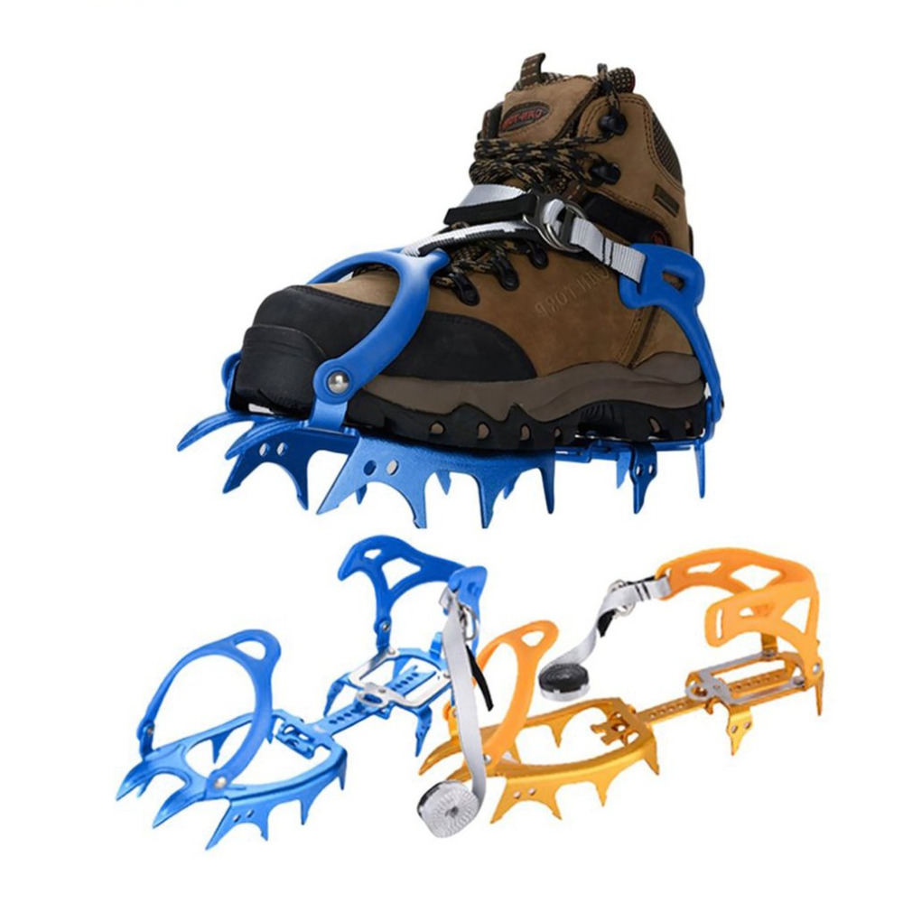 Anti-slip 14-Teeth Ice Snow Climbing Cleats Crampons Gripper For Boot Shoes Hot sale round snow ice climbing mountaineering shoes crampons orange pair