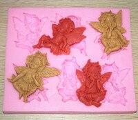 6 Cavity angel shape Silicone clay mold fondant cake mold decoration tools