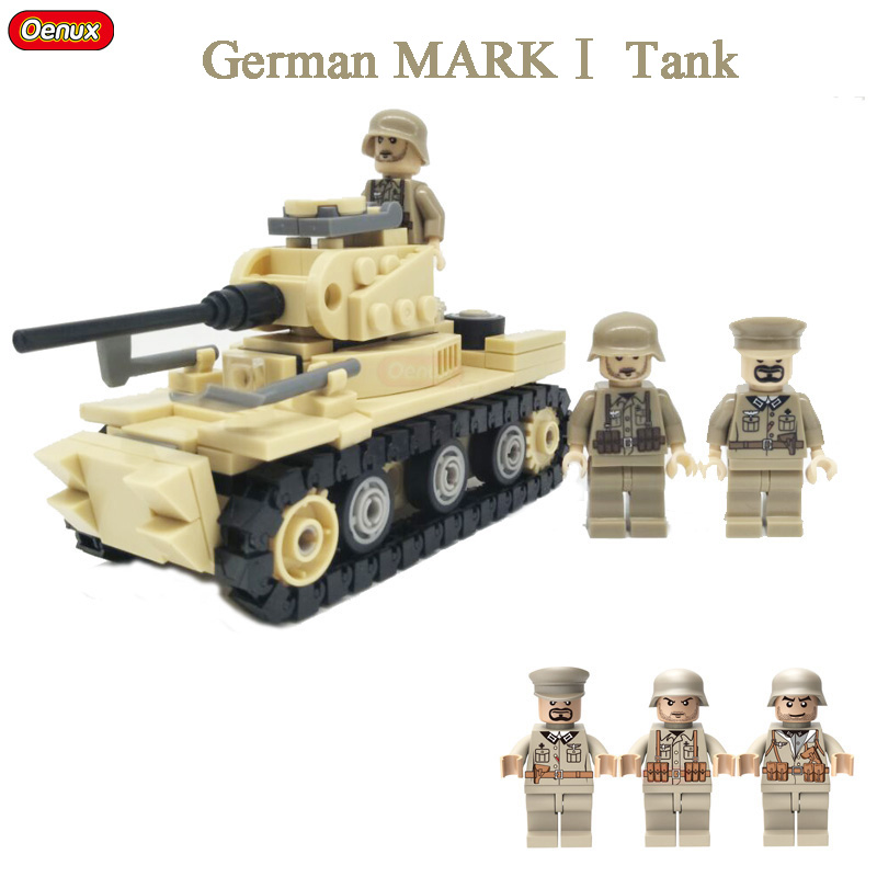 Oenux WW2 North Campaign War Classic German MARK1 Tank Vehicle Model Brick German Military Figure Building Block Educational Toy