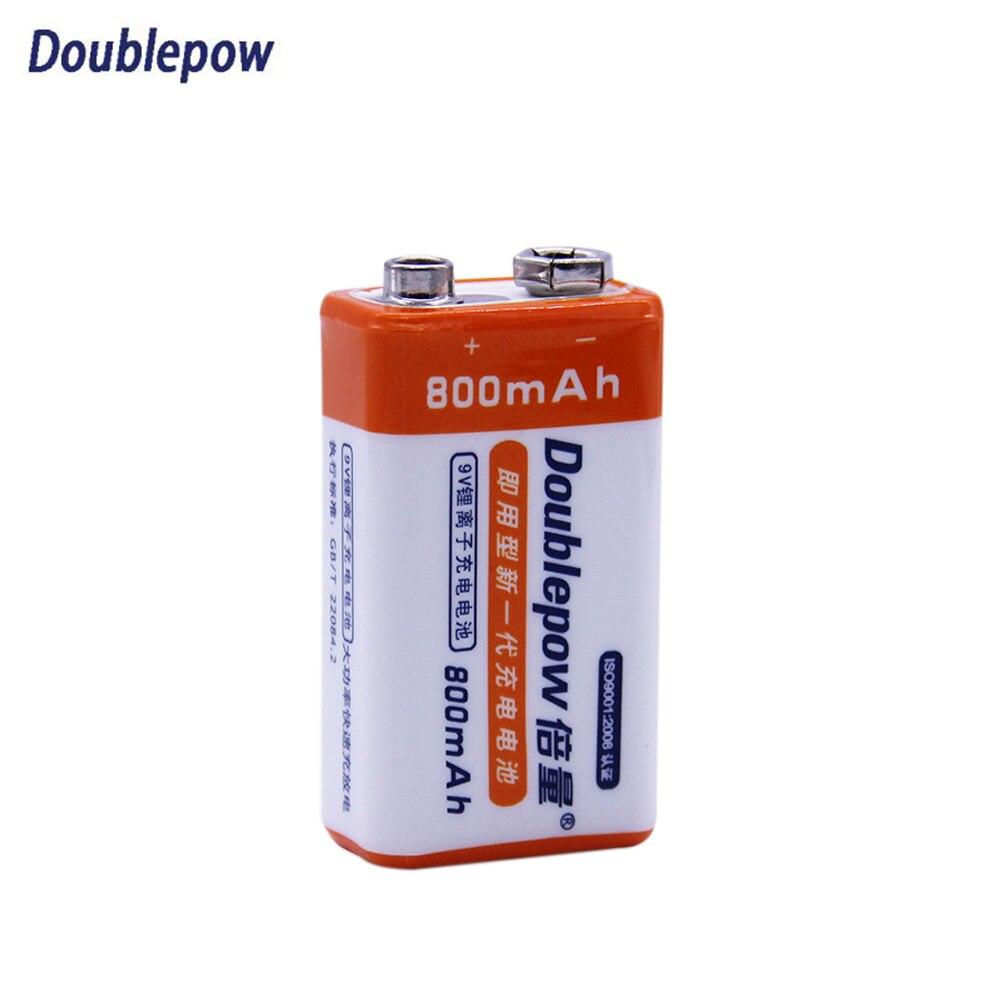Doublepow Haute Capacité Li-Ion batterie Rechargeable 9 V Batteries 800 mAh Batterie pour Microphone GPRS RC KTV Instrument