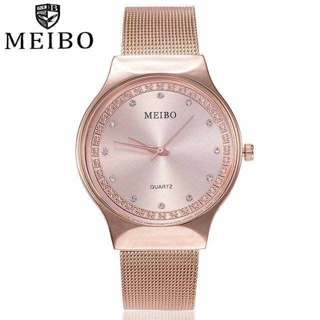 Fashion Women Rose Gold Rhinestone Quartz Watches MEIBO Brand Casual Ladies Stai