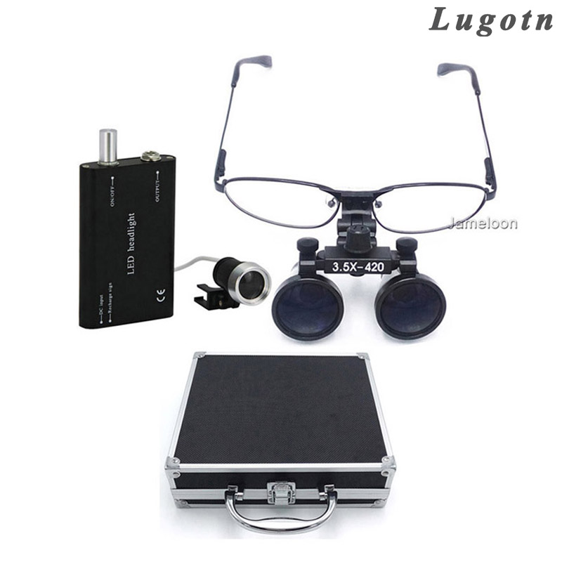 Metal box 3.5 times enlarge removable nearsighted magnifying glasses medical lens led head lamp surgical dental magnifier loupe light head magnifying glasses with 4 pieces different multiple lens 2 aaa