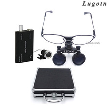 Metal box 3.5 times enlarge removable nearsighted magnifying glasses medical lens led head lamp surgical dental magnifier loupedental magnifying loupesmagnifier loupedental magnifier