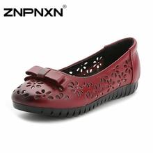 ZNPNXNของผู้หญิงรองเท้าแบนผู้หญิงหนังแท้มือทำเรือรองเท้าแม่รองเท้าสลิปในBowtieขนาดใหญ่