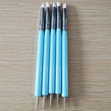 5pcs/Set Soft Pottery Clay Tool Silicone + Stainless steel Two Head Sculpting Polymer Modelling Shaper Art Tools Blue(China)