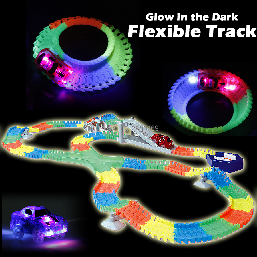 DIY Slot Create A Road Glow race track Bend Flex Glow in the Dark Assembly Toy Flexible Track 166/225PCS with 5 Led light cars