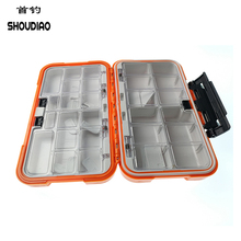 hot deal buy shou diao 28 plaid double high quality abs plastic fly fishing bait hook storage box waterproof fish accessories
