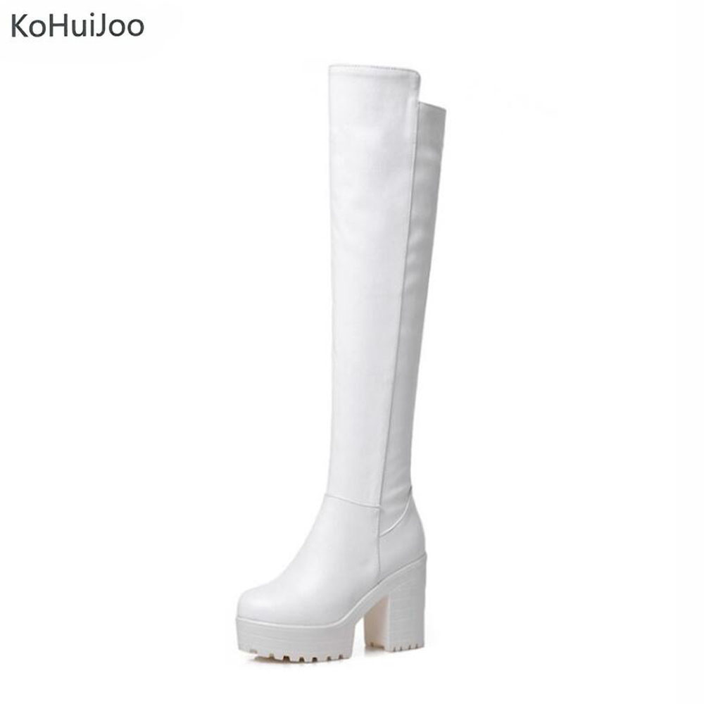 KoHuiJoo Big Size Winter Women Pu Leather Boots Black White Over The Knee High Sexy Ladies Party High Heels Platform Shoes 2018 women long boots stretch pu red black patent leather over the knee high sexy ladies party high heels platform shoes page 2