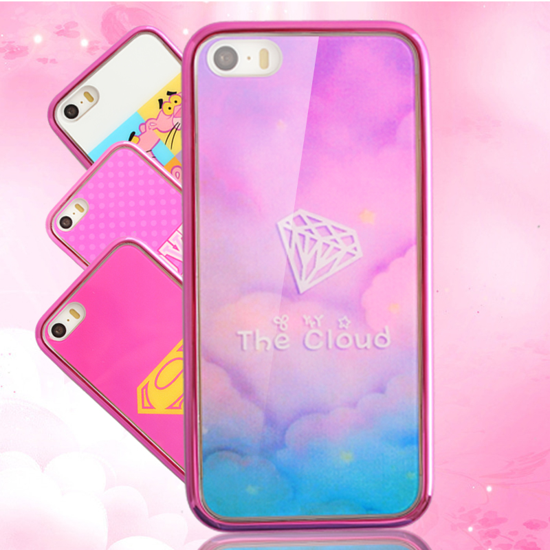 sale retailer e7683 93f39 US $5.96  Hot Pink Cute Girl Back Cover For IPhone6 I6 Luxury Art Print  Painted TPU & PC Plating Phone Case For IPhone 6 plus 6S S 4.7 5.5 on ...