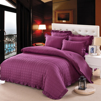 100% Cotton Quilted Thick Soft Bedclothes Purple White Orange Blue Bedding sets Queen size Bed Skirt Duvet cover set 36