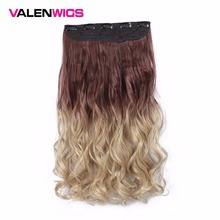 Valen Wigs Long Synthetic Hair Heat Resistant Hairpiece One Piece Clip in Invisible Hairpieces 5 Clips 22inch