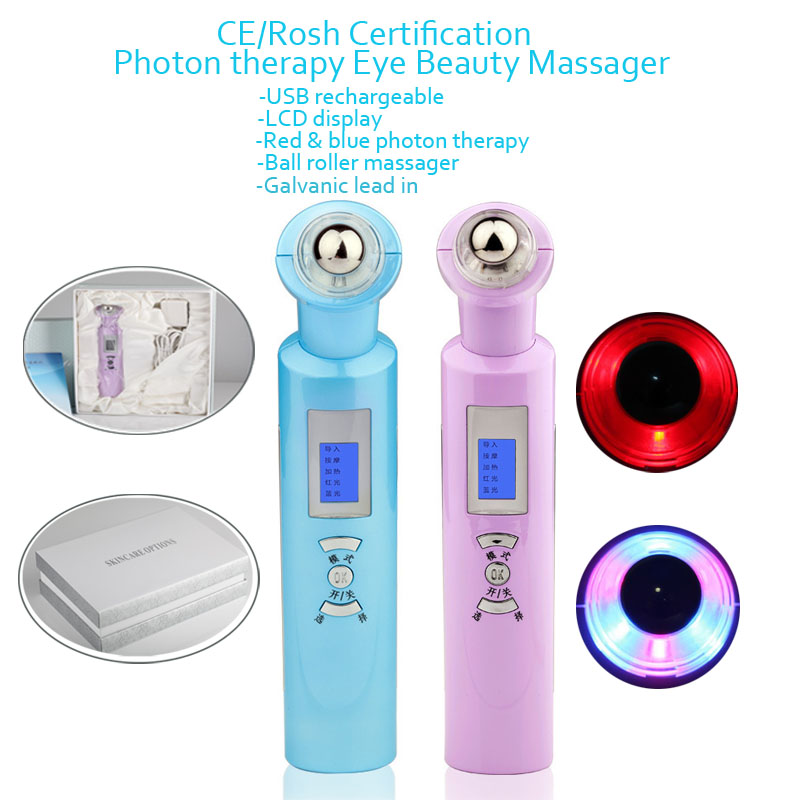 LCD Digital Rechargeable Anti Aging Eye Bag Dark Circle Wrinkle Removal Beauty Care Infrared Heating Light Eye Roller Massager free shipping new air pressure eye massager with mp3 6 functions dispel eye bags eye magnetic far infrared heating eye care