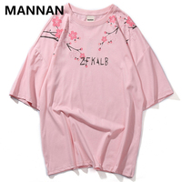 MANNAN 2019 Summer Anti war Branch Print Short Sleeve Shirt Couple Harajuku Men and Women T Shirt Hip Hop High Quality Tee