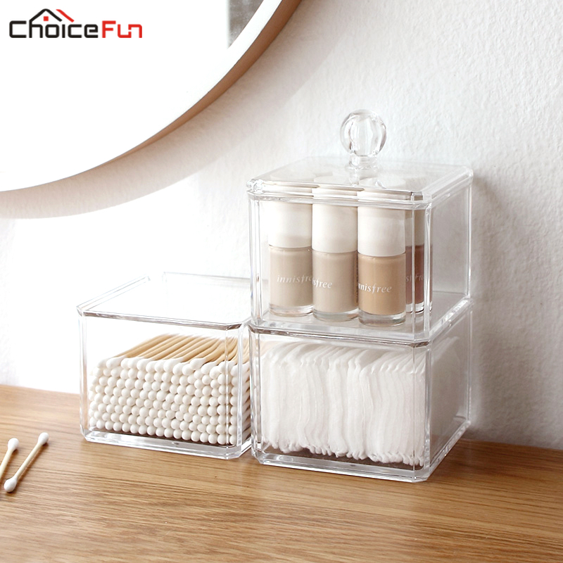 CHOICEFUN Cube Home Small Clear Transparent Display <font><b>Organize</b></font> Cosmetic Makeup Make Up Cotton Swab Acrylic Box For Storage image