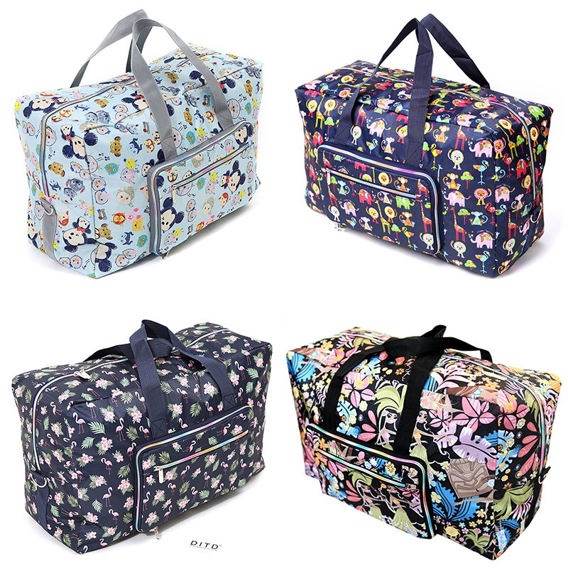 Foldable Travel Bag Women Large Capacity Portable Shoulder Duffle Bag Cartoon Printing Waterproof Weekend Luggage Tote Wholesale