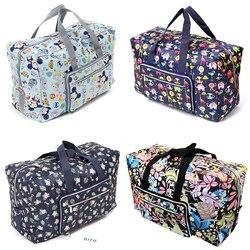 Foldable Travel Bag Women Large Capacity Portable Shoulder Duffle Bag Cartoon Printing Waterproof Weekend Luggage Tote Wholesale
