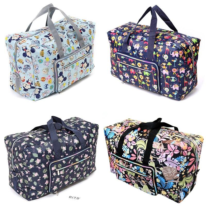 Sac de voyage pliable femmes grande capacité Portable sac à bandoulière sac de bande dessinée impression étanche week-end bagages fourre-tout en gros