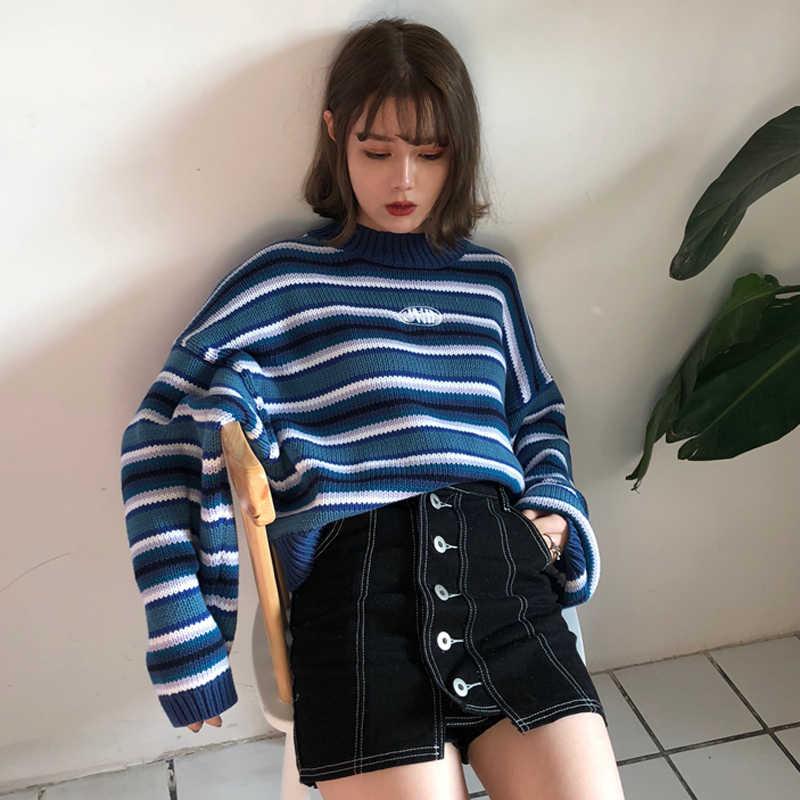 ผู้หญิงฤดูใบไม้ร่วงฤดูใบไม้ร่วงขนาดใหญ่เสื้อกันหนาว Harajuku O คอไหล่แขน Batwing ถักจัมเปอร์นักเรียนหลวมเสื้อน่ารัก