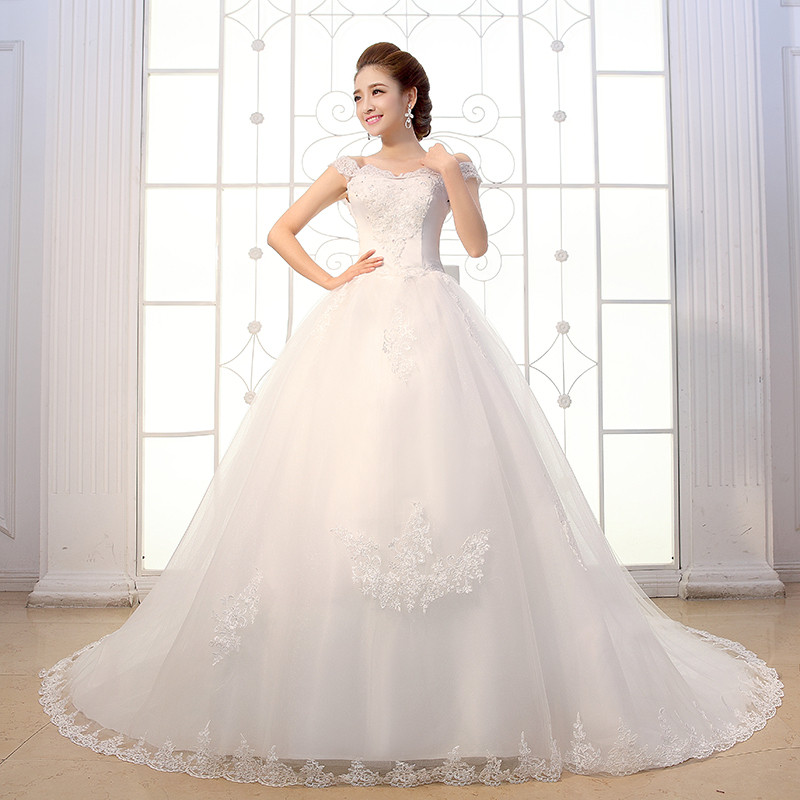 Online Shop White Wedding Dresses Long Train Bow Back Princess Ball Gown Bride Dress Lace Up