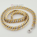 60cm, 10mm, Chain Two Tone Silver & Gold MENS Stainless Steel Necklace Casual Jewelry 2015, Gift for his Wholesale WN122