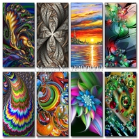 Sky And Sea Oil Painting Diamond Embroidery 5D DIY Diamond Painting Colourful Abstract Painting Full Rhinestone